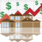 reflection of brown house with red arrow raising with dollar signs all around